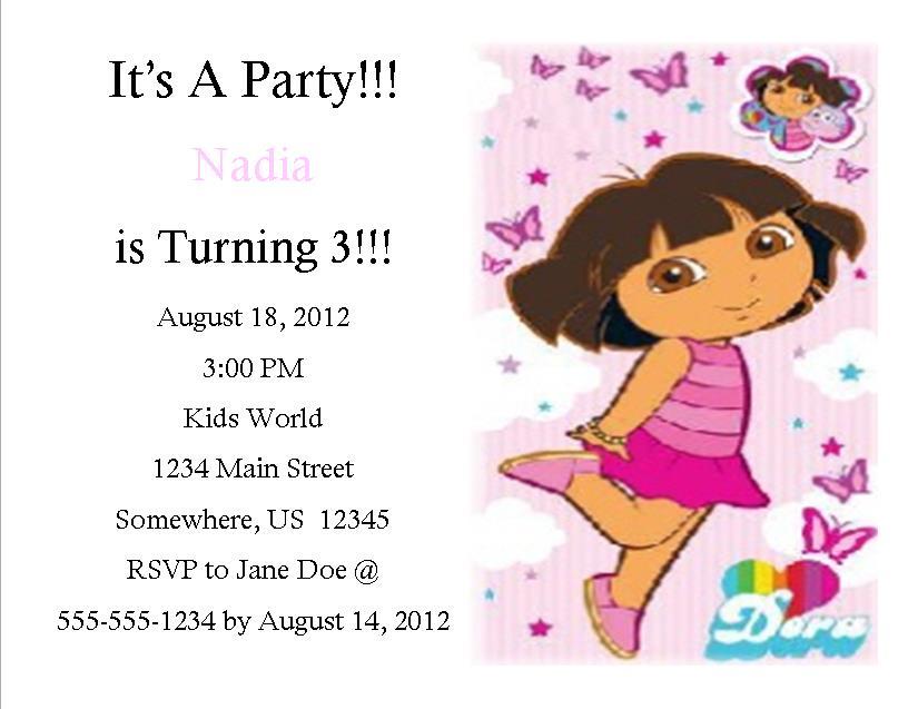 Dora Birthday Invitation 1 Southern Desktop Publishing Online