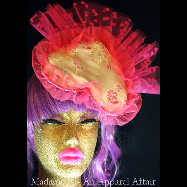 504069cfca577 Golden heart shaped fascinator · Madame X - An Apparel Affair ...