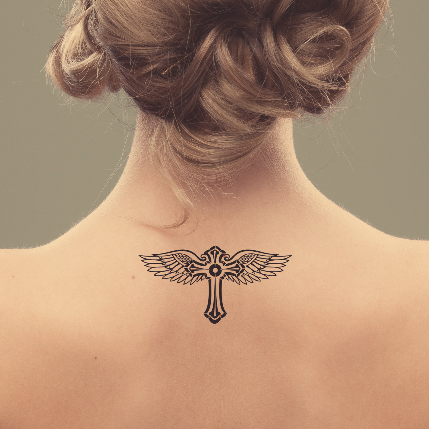 Cross And Wings Temporary Tattoo Design Love