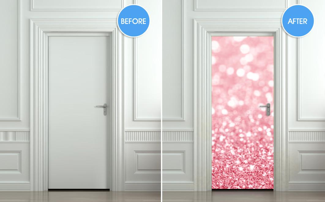 Door Wall Sticker Poster Bling Glitter Rose Decole Film