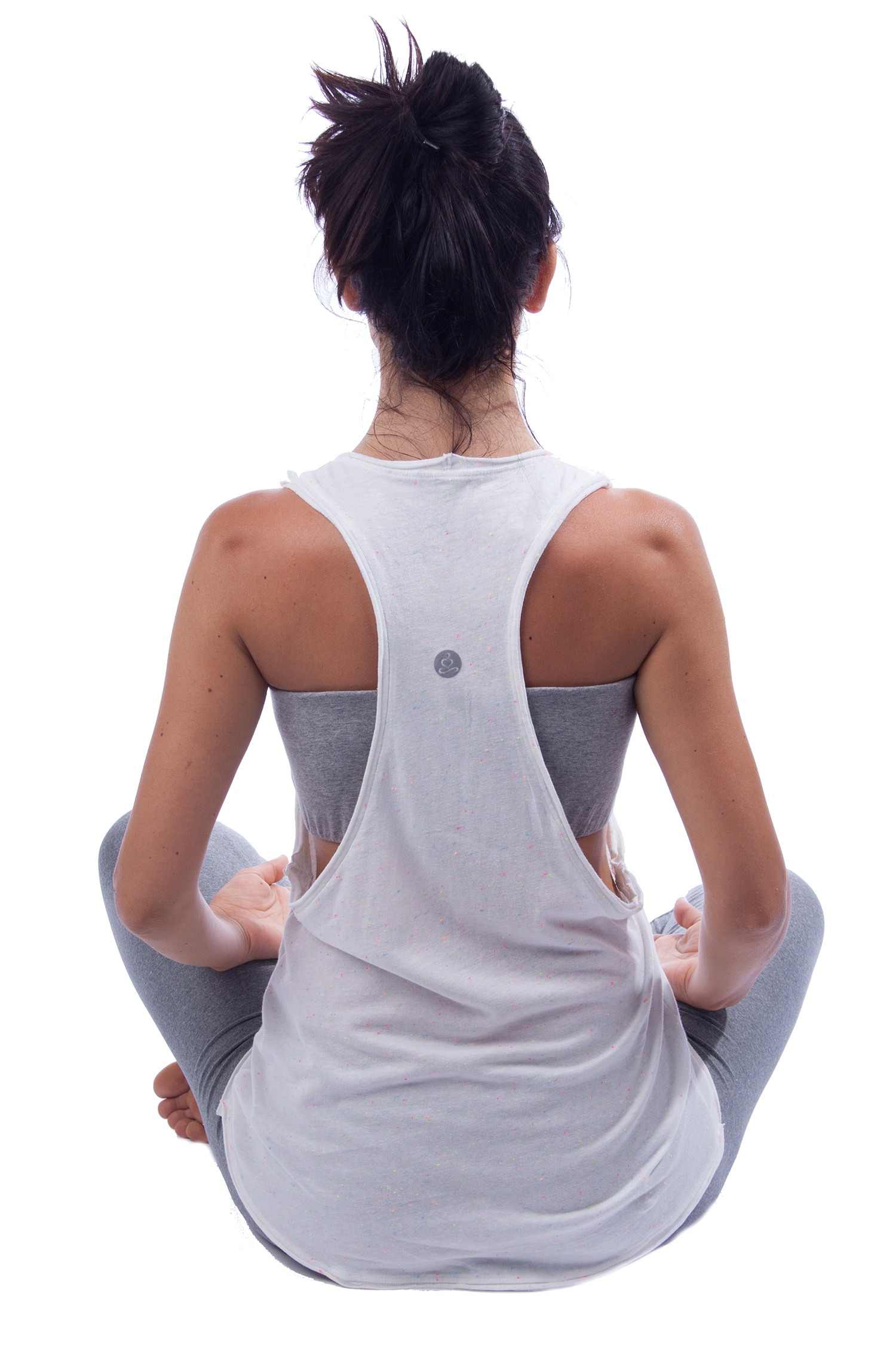 6c85300b9debfb Organic Cotton Yoga Vest - Loose Racerback Yoga Tank - Candy Sprinkled  White Yoga Top ...