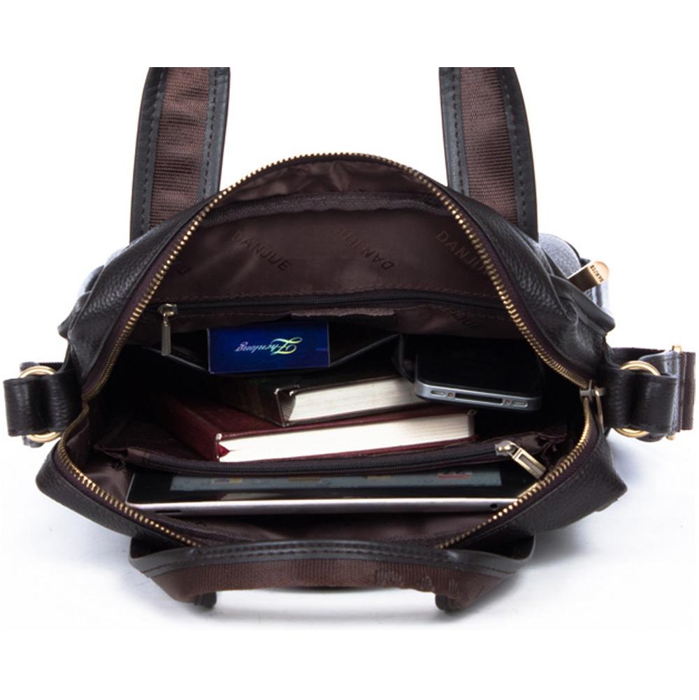 6ec3ae0dde91 ... Men s Black Cowhide Leather Workbag Courier Shoulder Messenger Crossbody  Bag 11