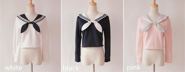 Sailor Collar With Tie Fleece Jumper Pullover Top Free
