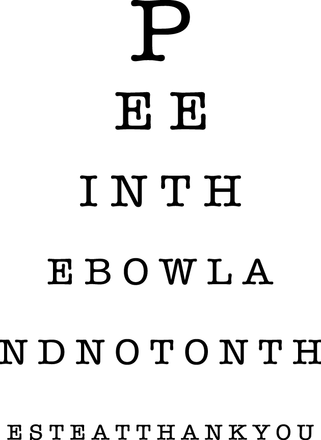 Eye Chart Decal Pee In The Bowl Please Wall Decal Wall Sticker
