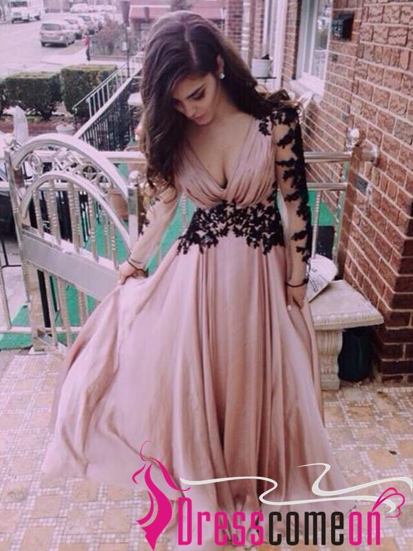 d68121a3047d0 Hot Sales Long Sleeves Black Lace Pink Chiffon V Neck Prom Dress ...