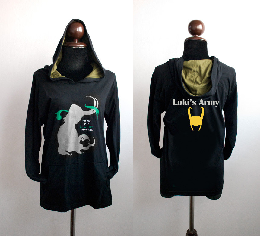 c5e6bb2f Loki hoodie : black and olive green Hoodie with I'm not your brother ...