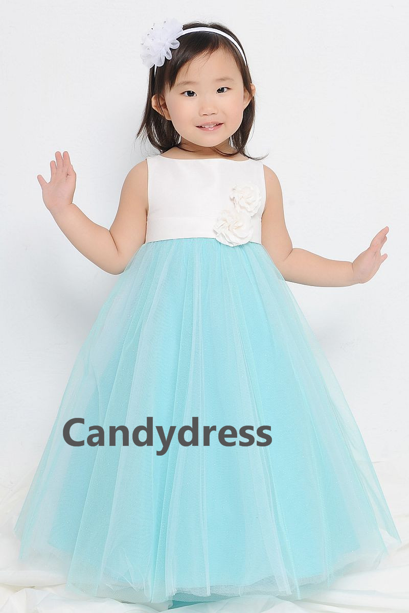 Flower girl dress/wedding/party/graduation/tank style/satin/tulle ...