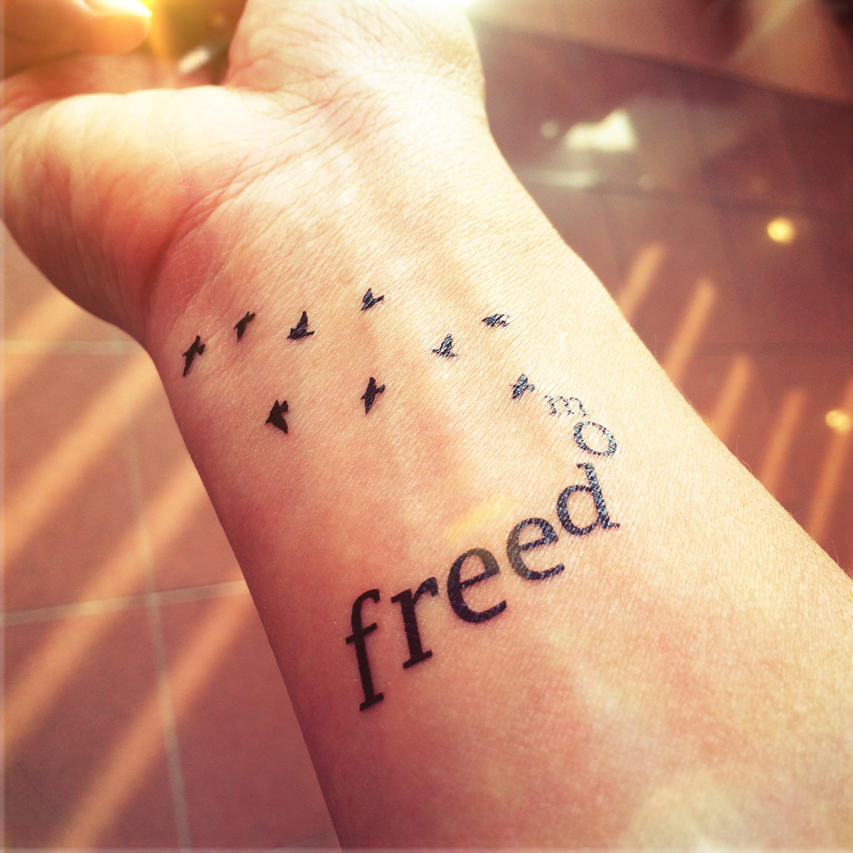 93ec6b565 2pcs FREEDOM with flying birds tattoo - InknArt Temporary Tattoo - hand  writing temporary tattoo wrist