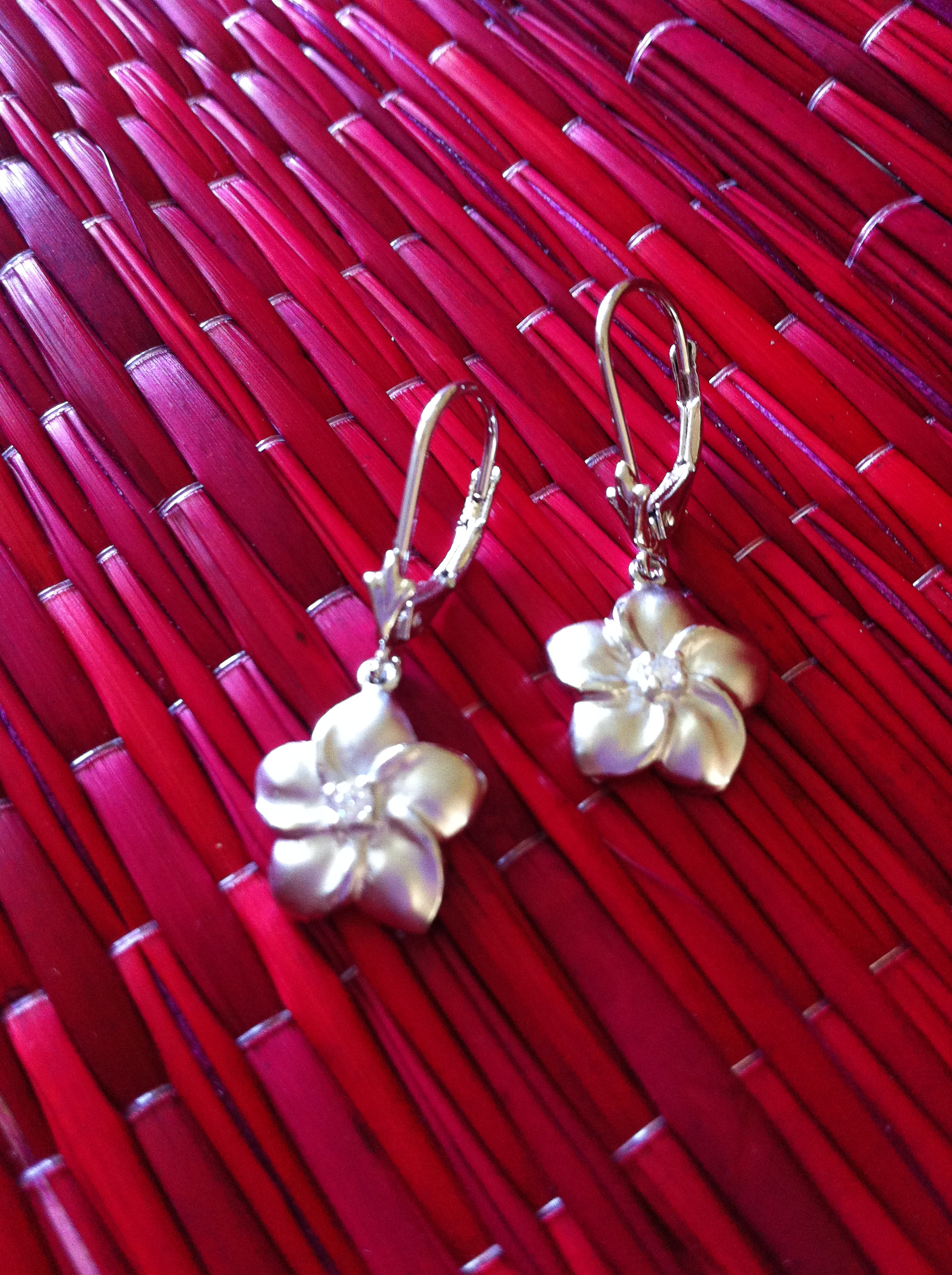 d02eb306fb6 Plumeria Leverback Earrings from Silver 925 Kona