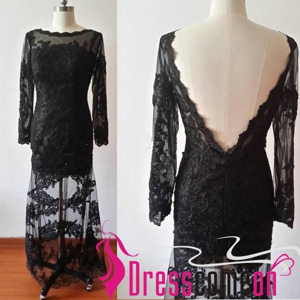 Custom Mermaid High Neck Long Sleeves Backless Lace Black Prom