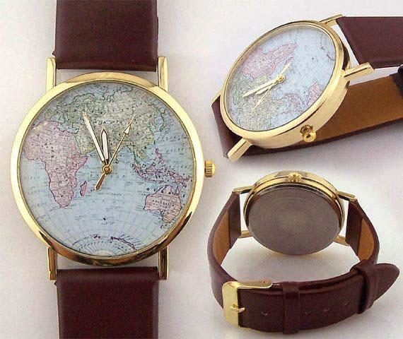Vintage world map watch map watches Wanderlust watch women Watch for ...