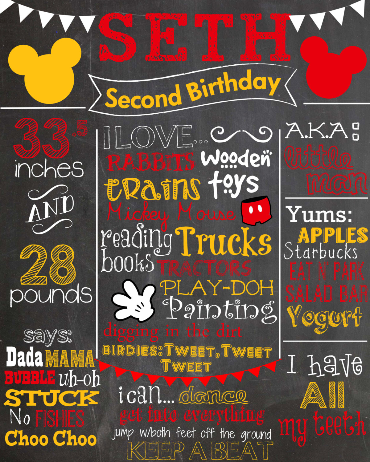 Minnie Mouse First Birthday Colored Chalkboard Poster