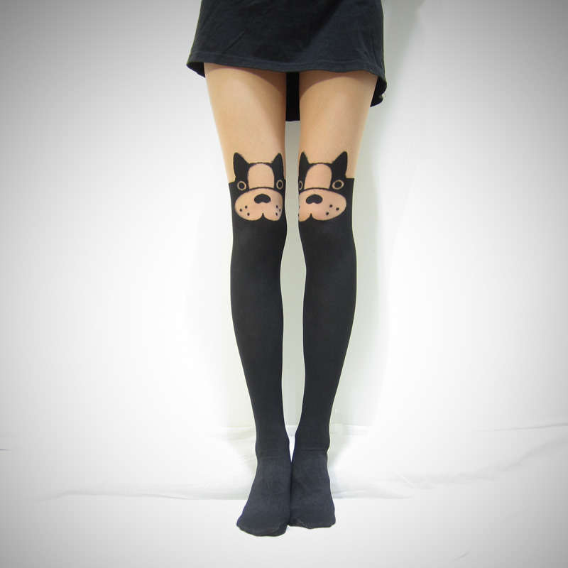 4e008028f35 Must love dog Boston Terrier mock thigh high tights  stockings on ...
