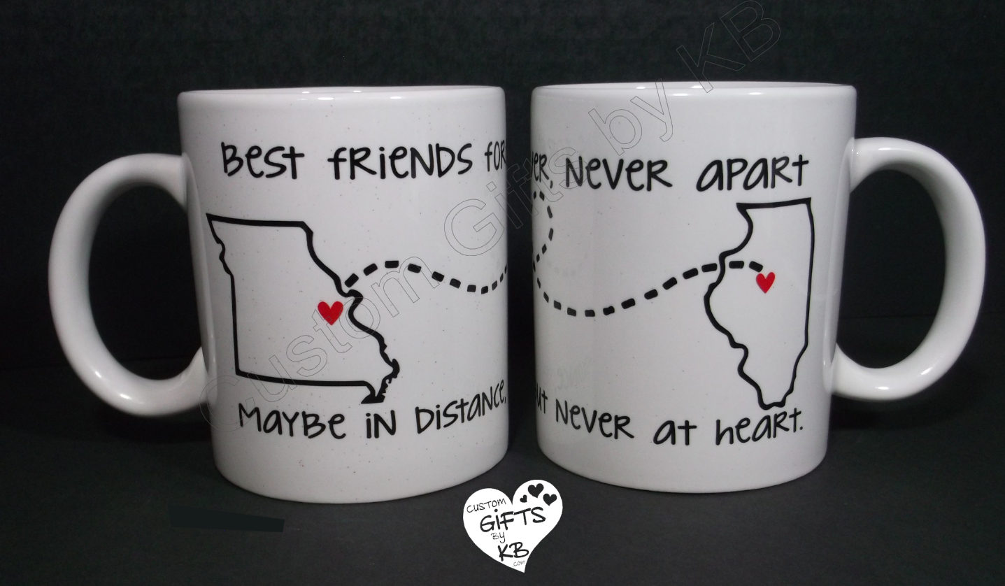 Best Friends Forever Mugs BFF Miss You State And City