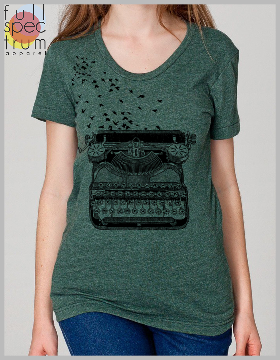bcbae6bb008cb5 ... Women s T Shirt Vintage Typewriter with Birds - Freedom of Speech  Writer s Tee American Apparel Tee ...