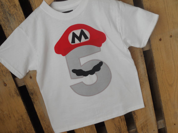 Mario Bros Birthday Shirt With A Grey Number Available In Any