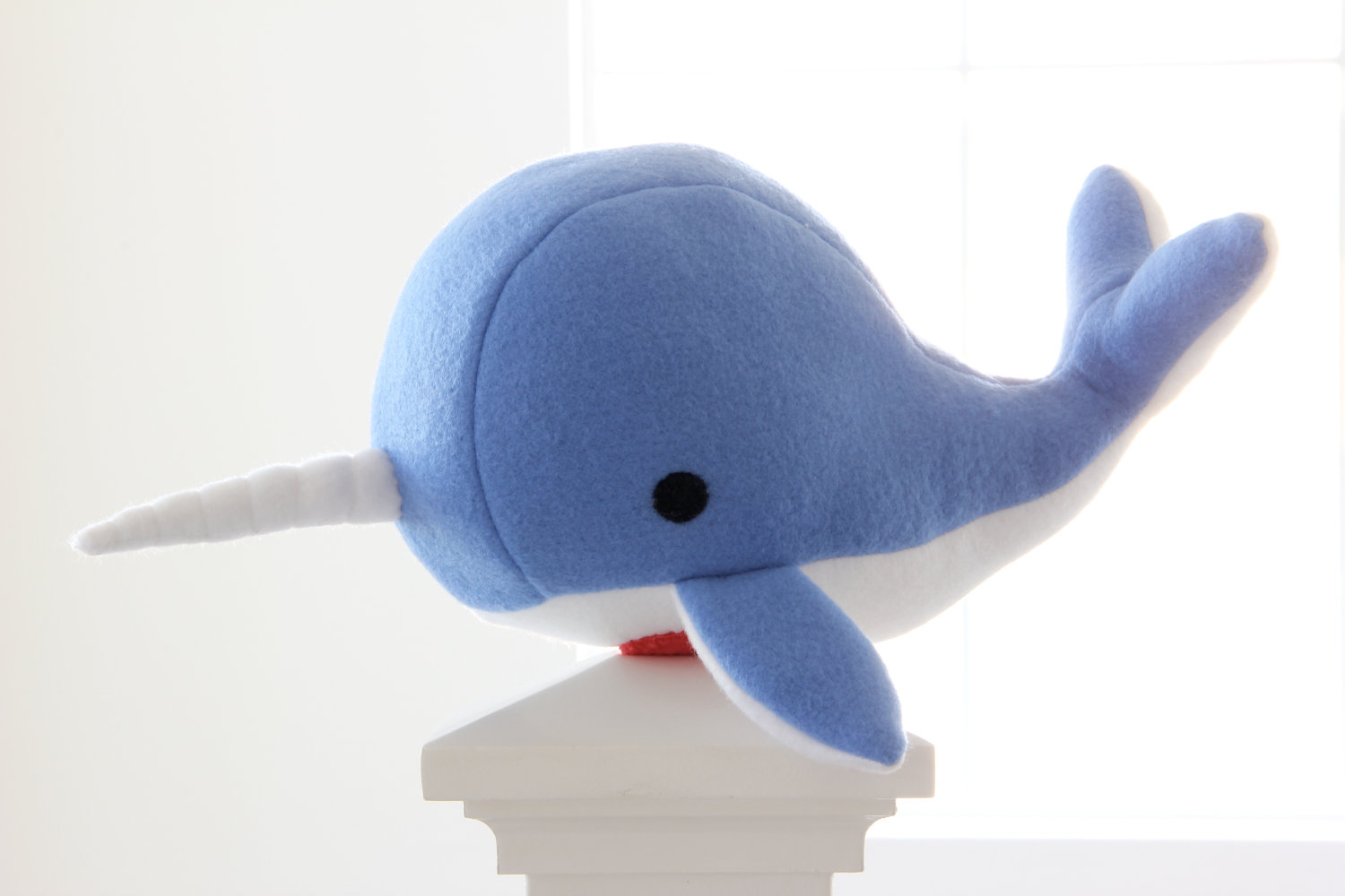 Narwhal Plush Toy Noah Blue Soft Fleece Whale Narwal Plushie On