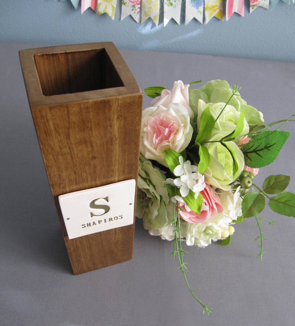 Online Gifts For Wedding: Monogrammed Fruitwood Vase - Custom Wedding
