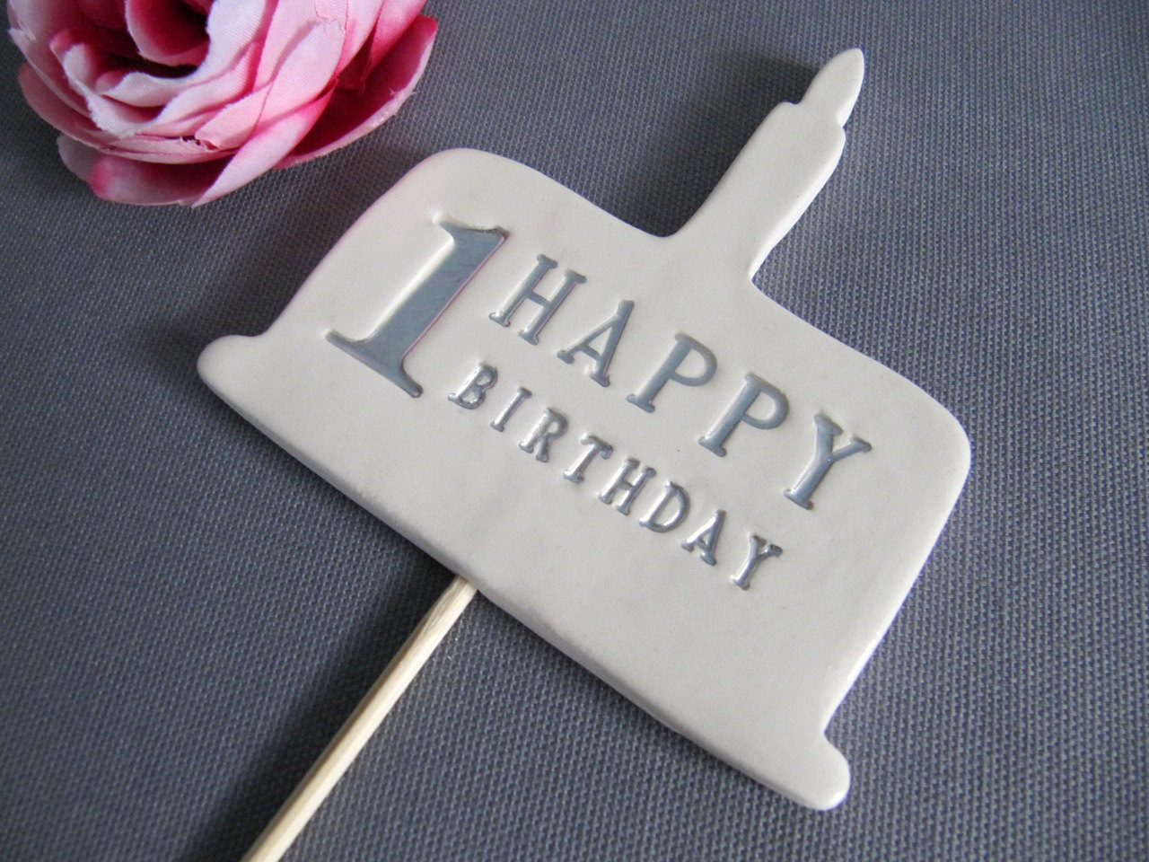 1st Birthday Cake Topper in Silver Gold Blue Pink or Black on