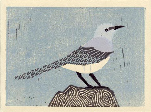 Mockingbird Handmade Linocut Oil Paint Art Block Print