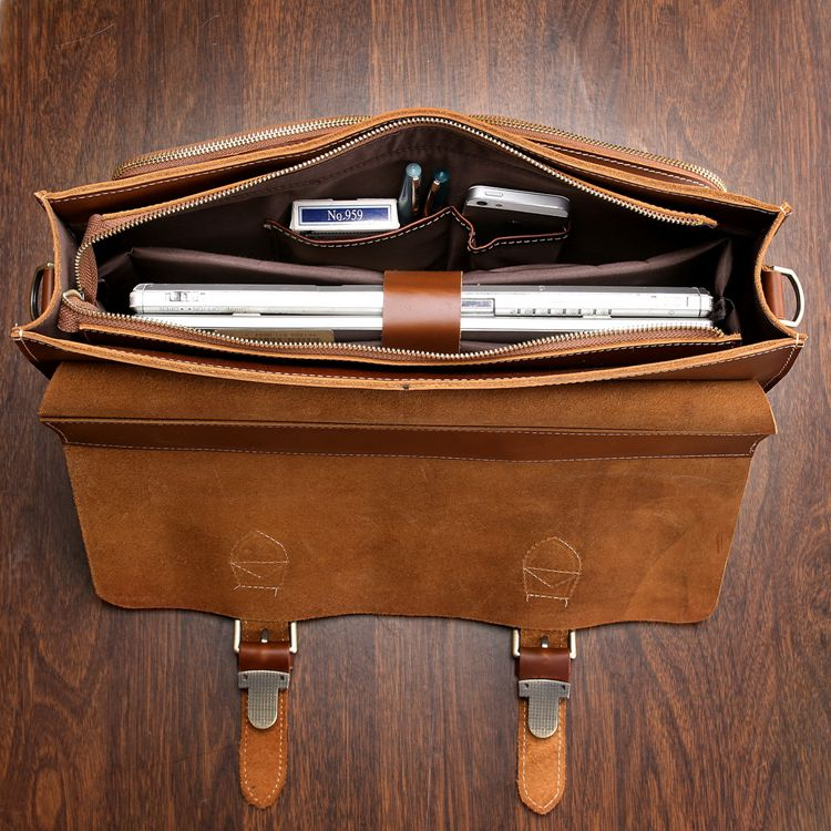 beb5f9caed ... Handmade Superior Leather Briefcase / Leather Messenger Bag - with a 13