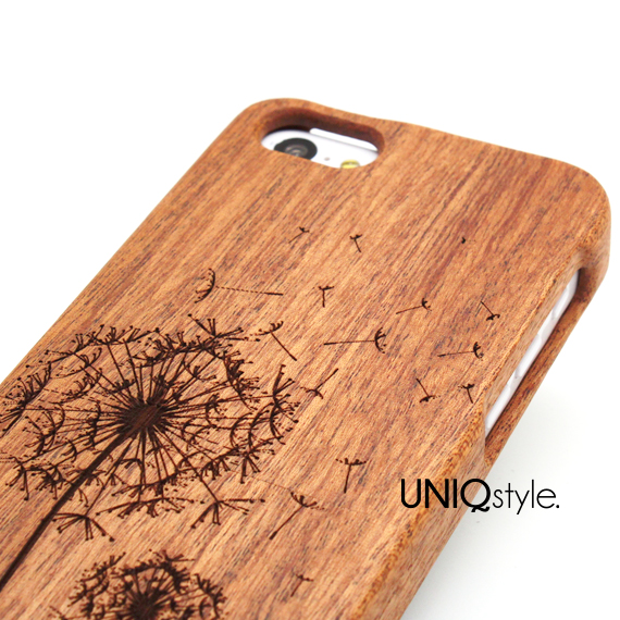 Flying Dandelion Engraved Wood Case For Iphone 6 Iphone 44s Iphone 55s5c Samsung S3 S4 S5 Note 3 Wooden Case Real Wood Cover From Uniqstyle