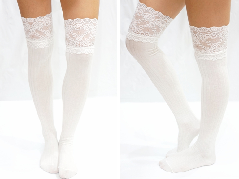 Thigh Lace Knit Knee High socks Boot