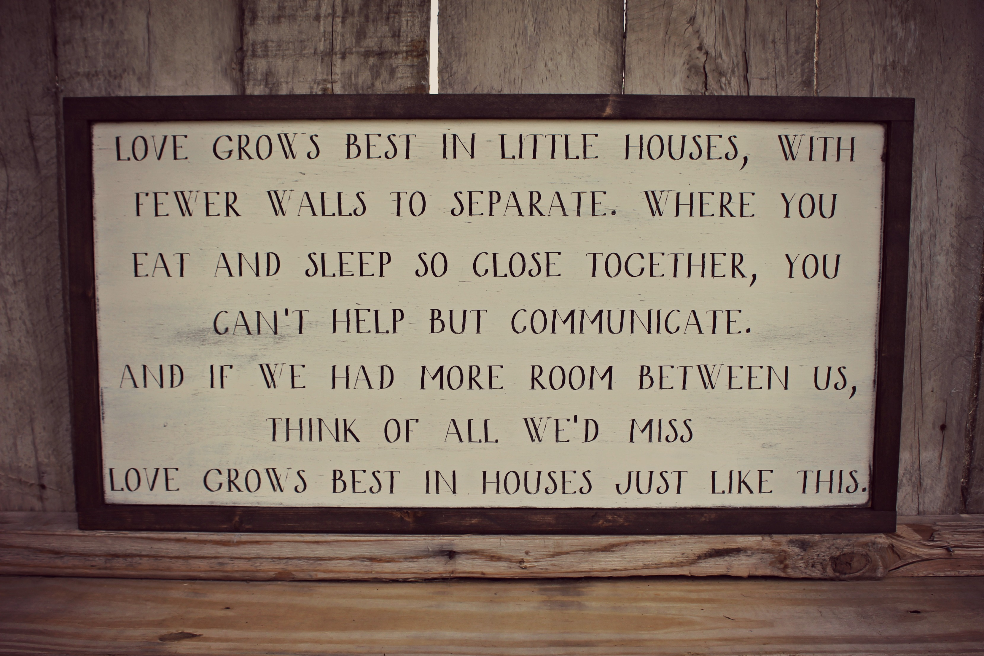 Love Grows Best 12x24 Framed Sign Sold By Rustic Heart Goods On