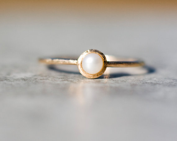 Pearl Engagement Ring Pearl Stacking Ring Solid 14k Gold Arpelc