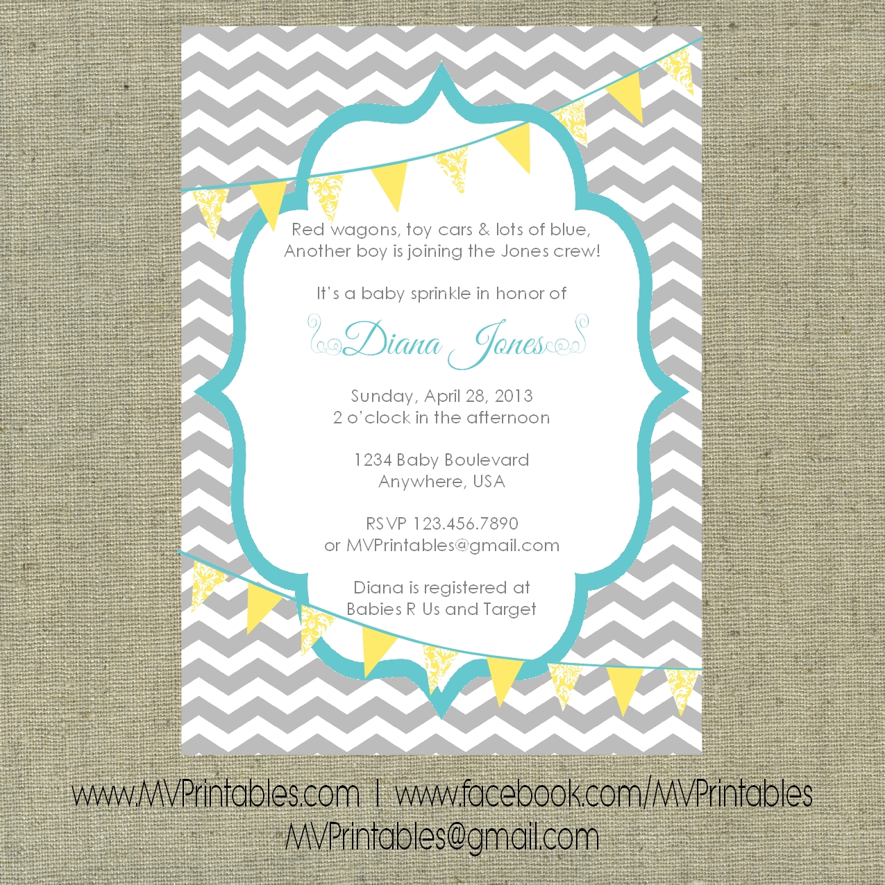 Gray chevron with yellow bunting custom printable invitation on storenvy filmwisefo
