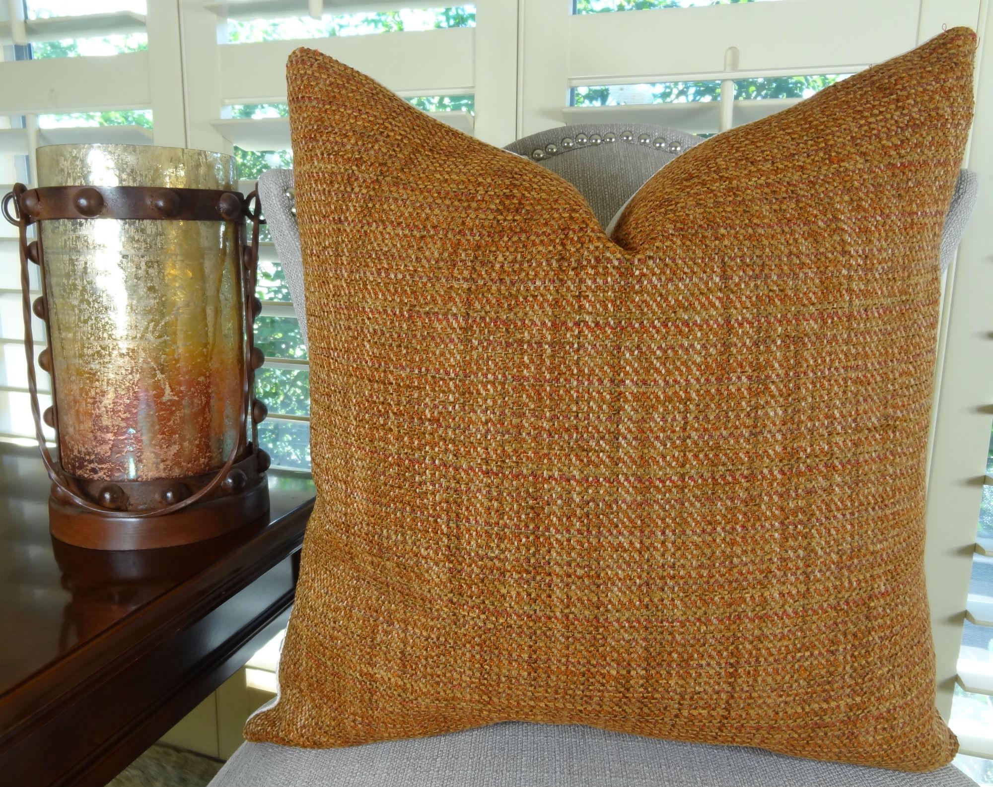 18 Quot X 18 Quot Luxury Designer Decorative Throw Pillow Orange