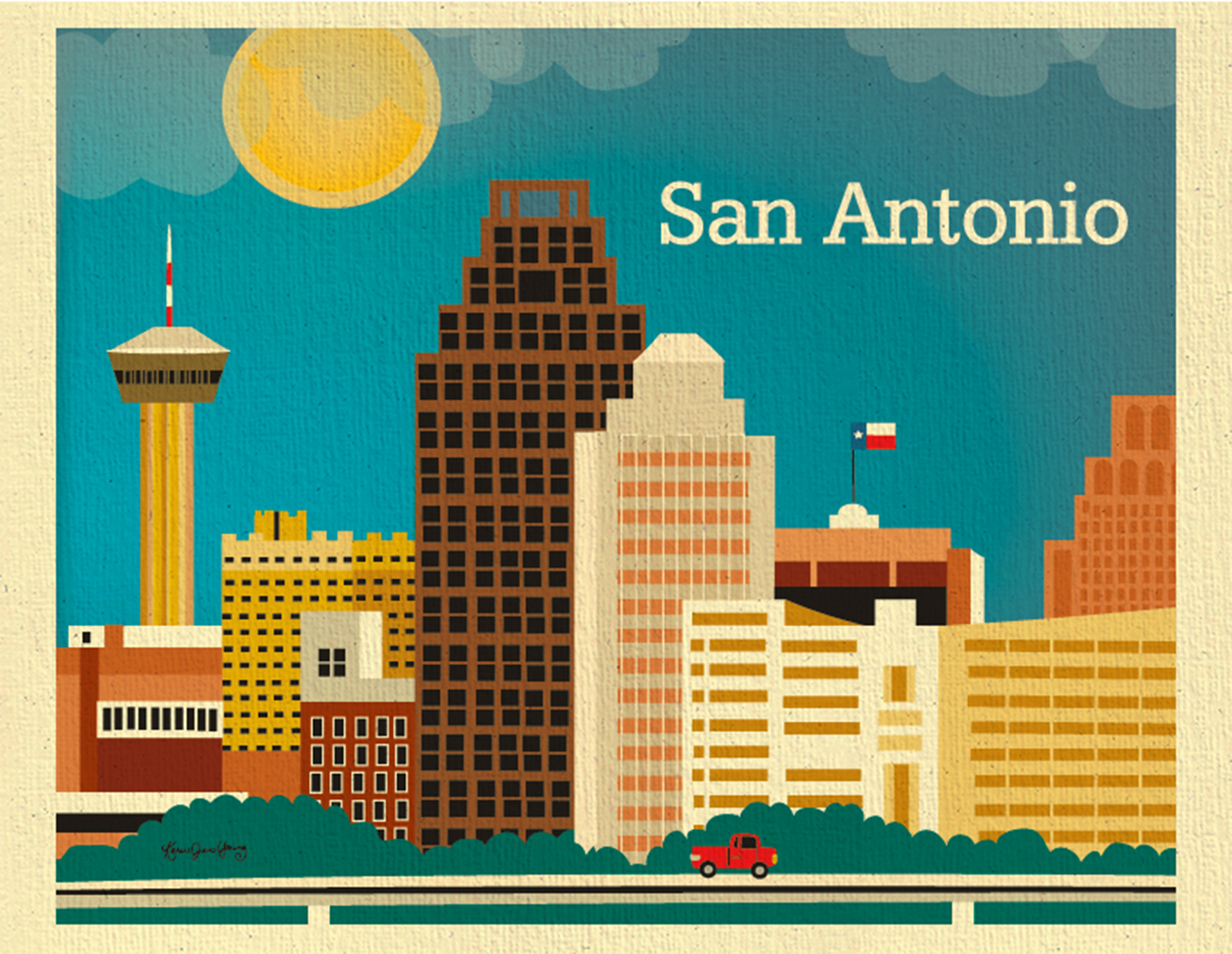 San Antonio Texas Skyline Poster Texan Wall Art For