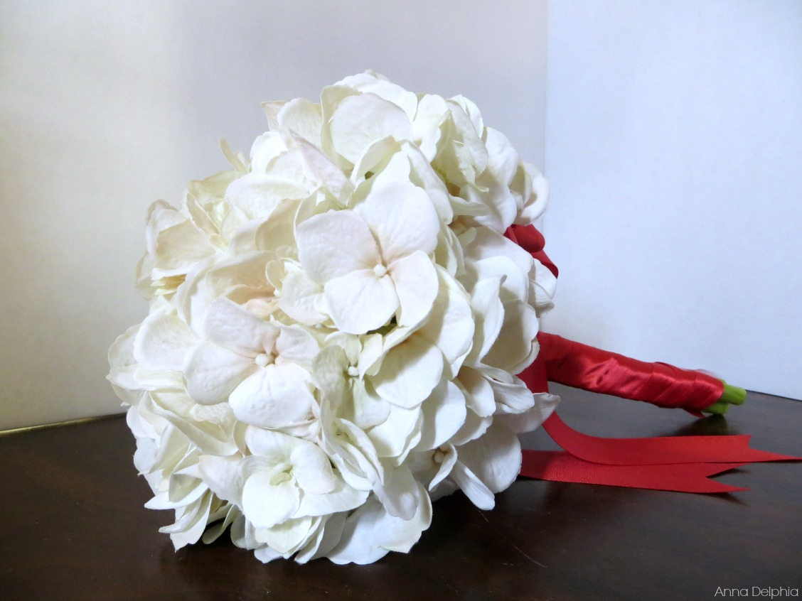 White Hydrangea Bridal Bouquet White And Red Hydrangea Bouquet