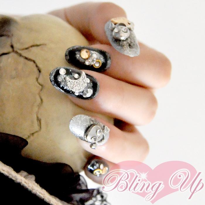 Bling Up Inc Punk Metallic Black Silver Glitter 3d Nail Art Witth