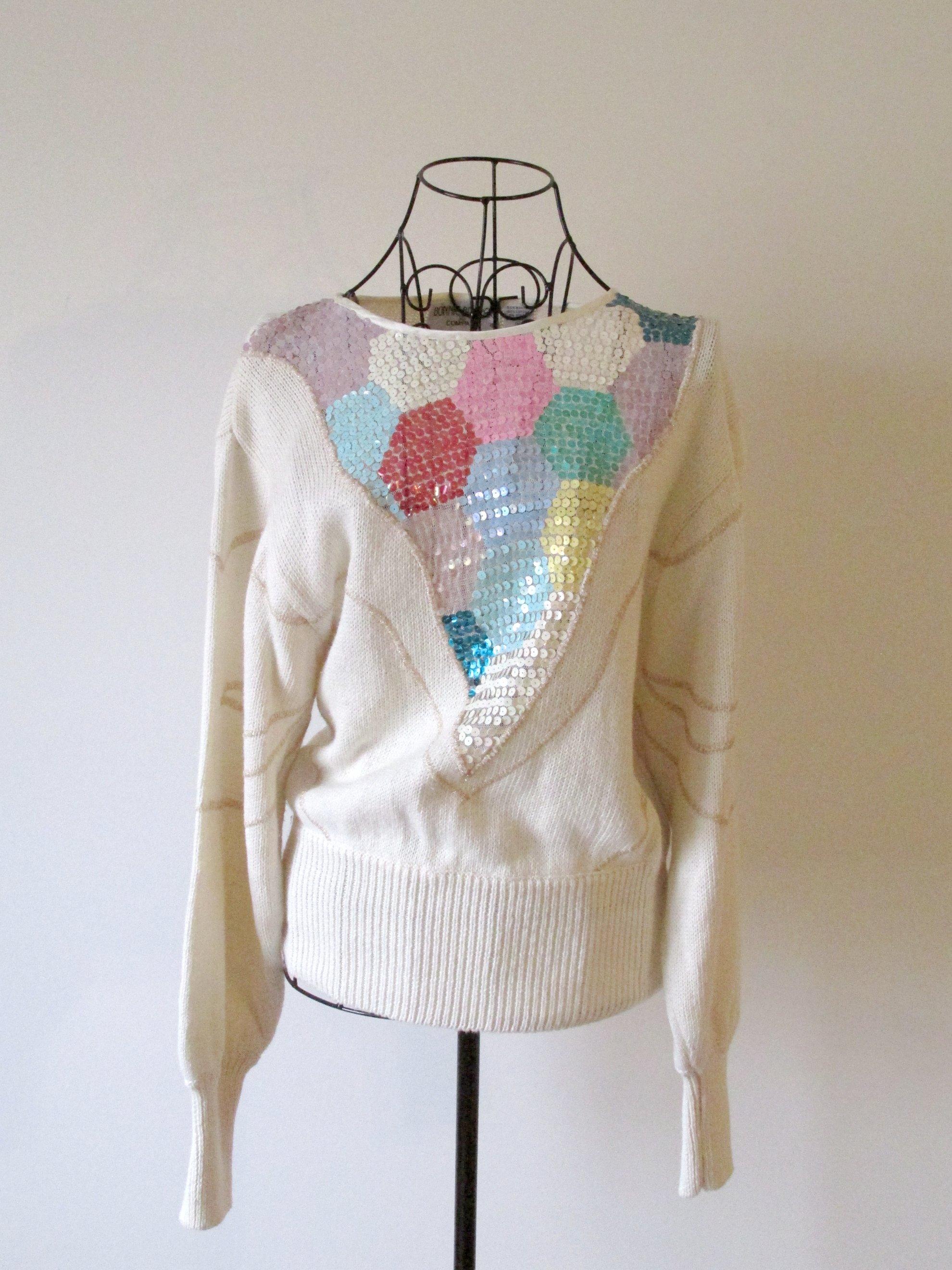6164041b6063b SOLD-Vintage Multi Color Sequins Sweater on Storenvy