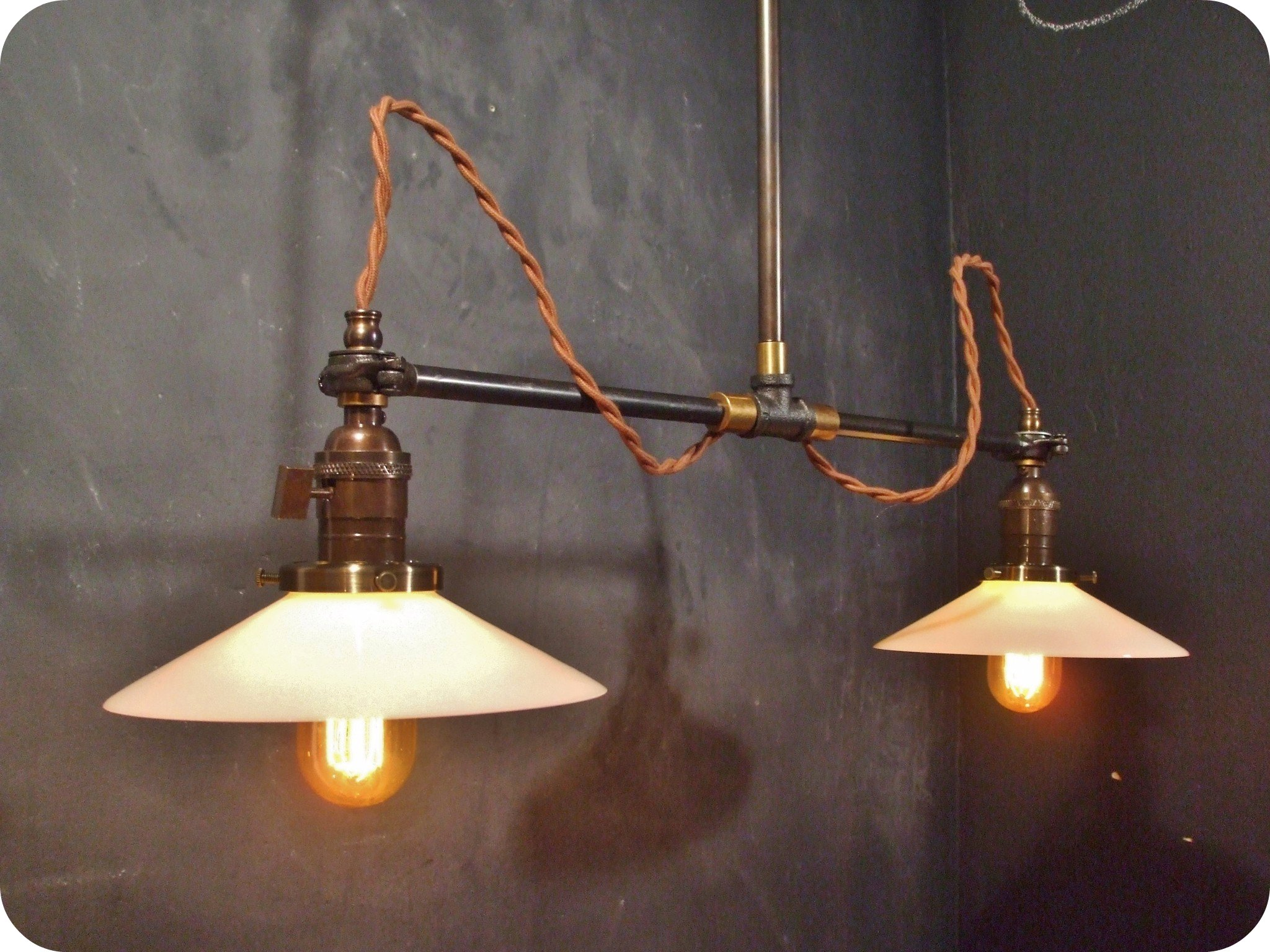 Vintage industrial double shade ceiling sconce machine age flat dscf2568 original aloadofball Image collections