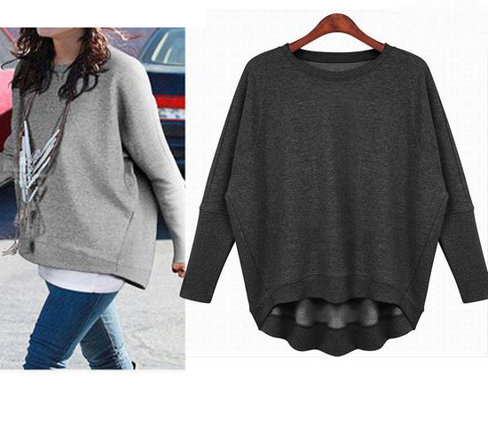 Light Gray / Dark Gray Sports leisure fashion women sweater SW049 ...