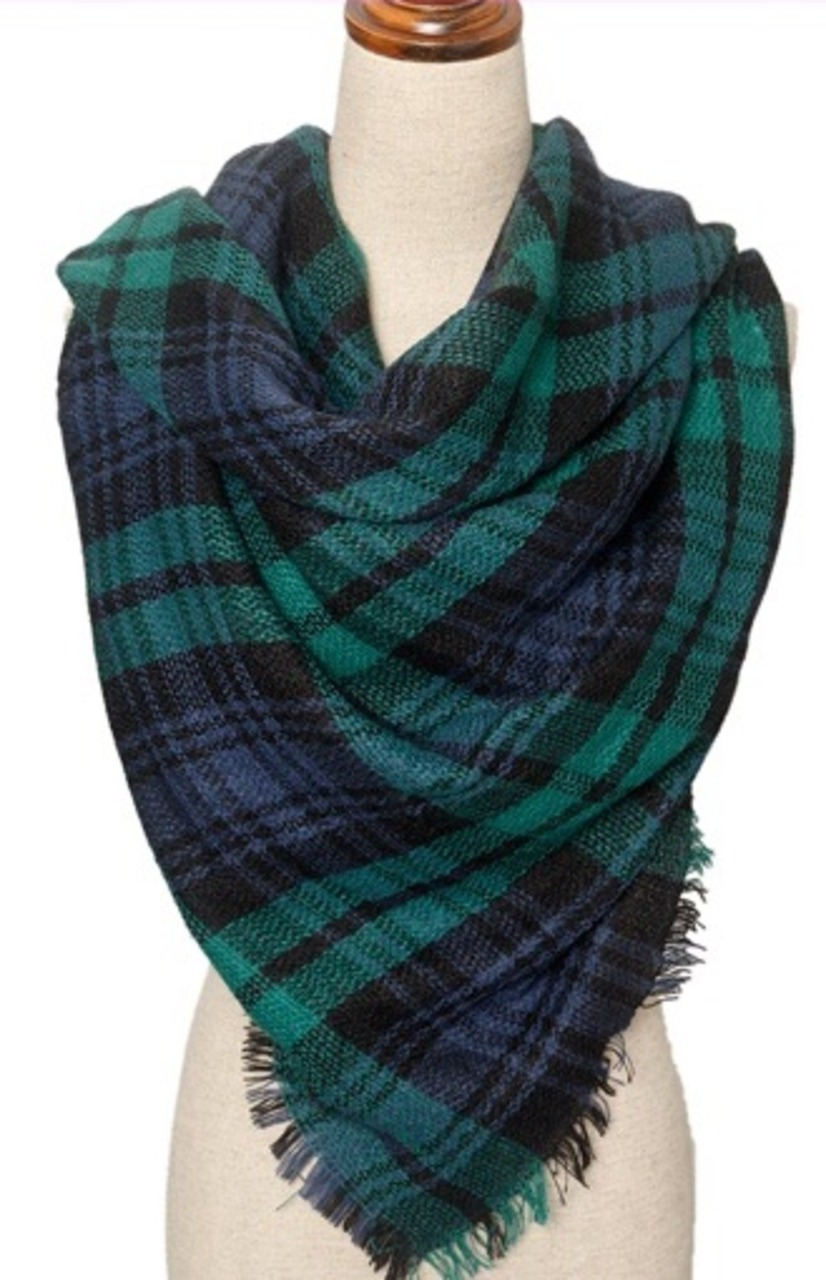 1d0b5cbc79427 Zara inspired plaid square blanket scarf - Blue/Green Double Sided ...