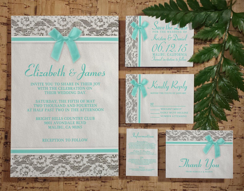 Printable Aqua Country Lace Wedding Invitations Set/Suite, Invites ...