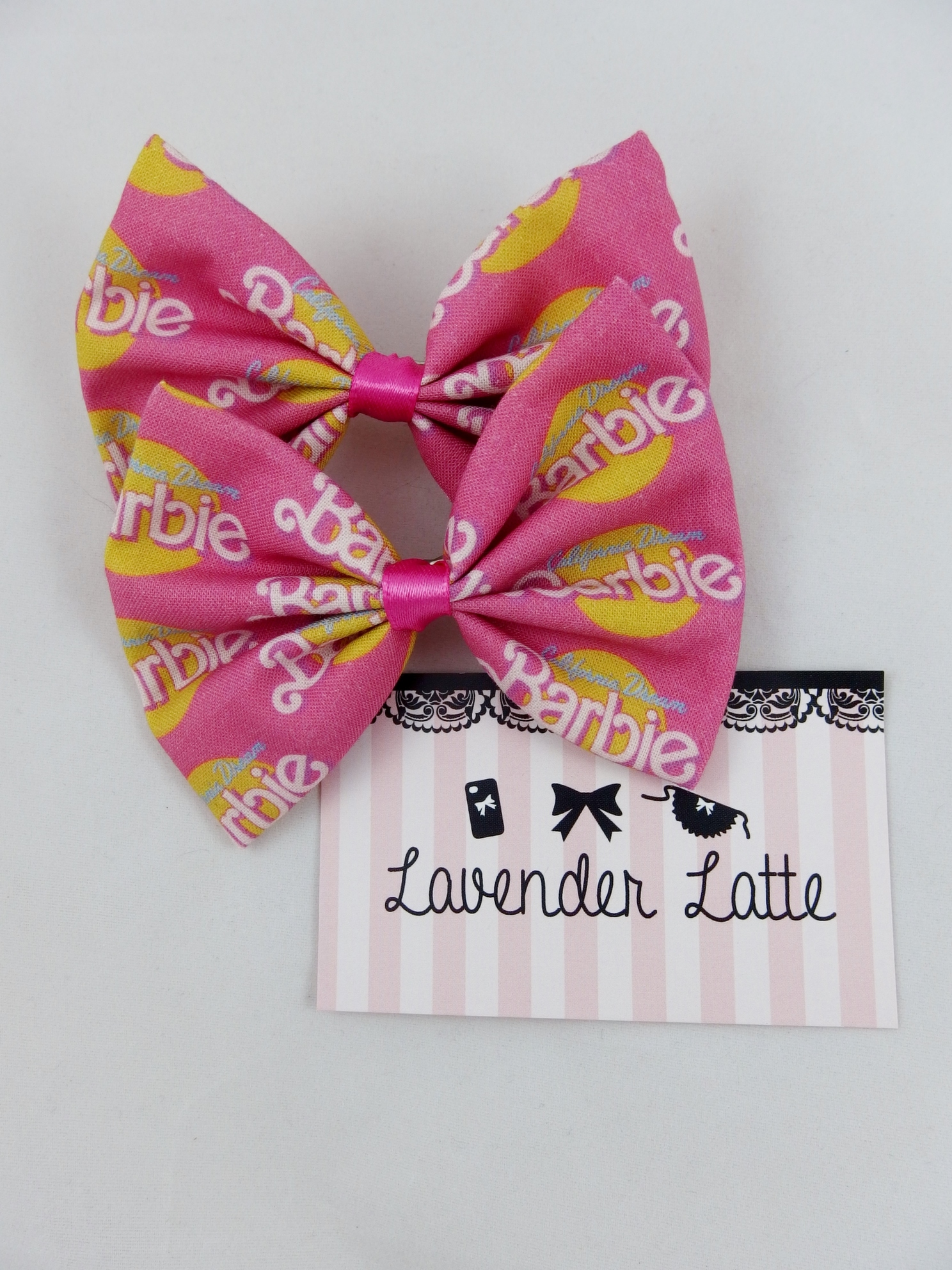 9ca45b5cd80a3 California Dream Barbie Hot Pink Girly Fabric Hair Bow Girly Girl from  Lavender Latte