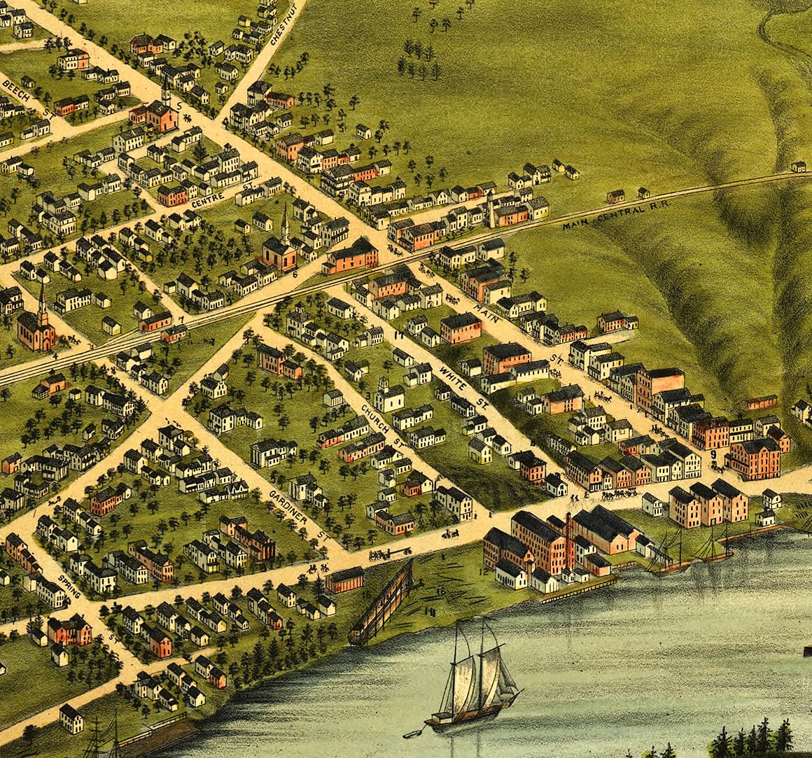 Richmond, Maine in 1878   Bird's Eye View Map, Aerial, Panorama