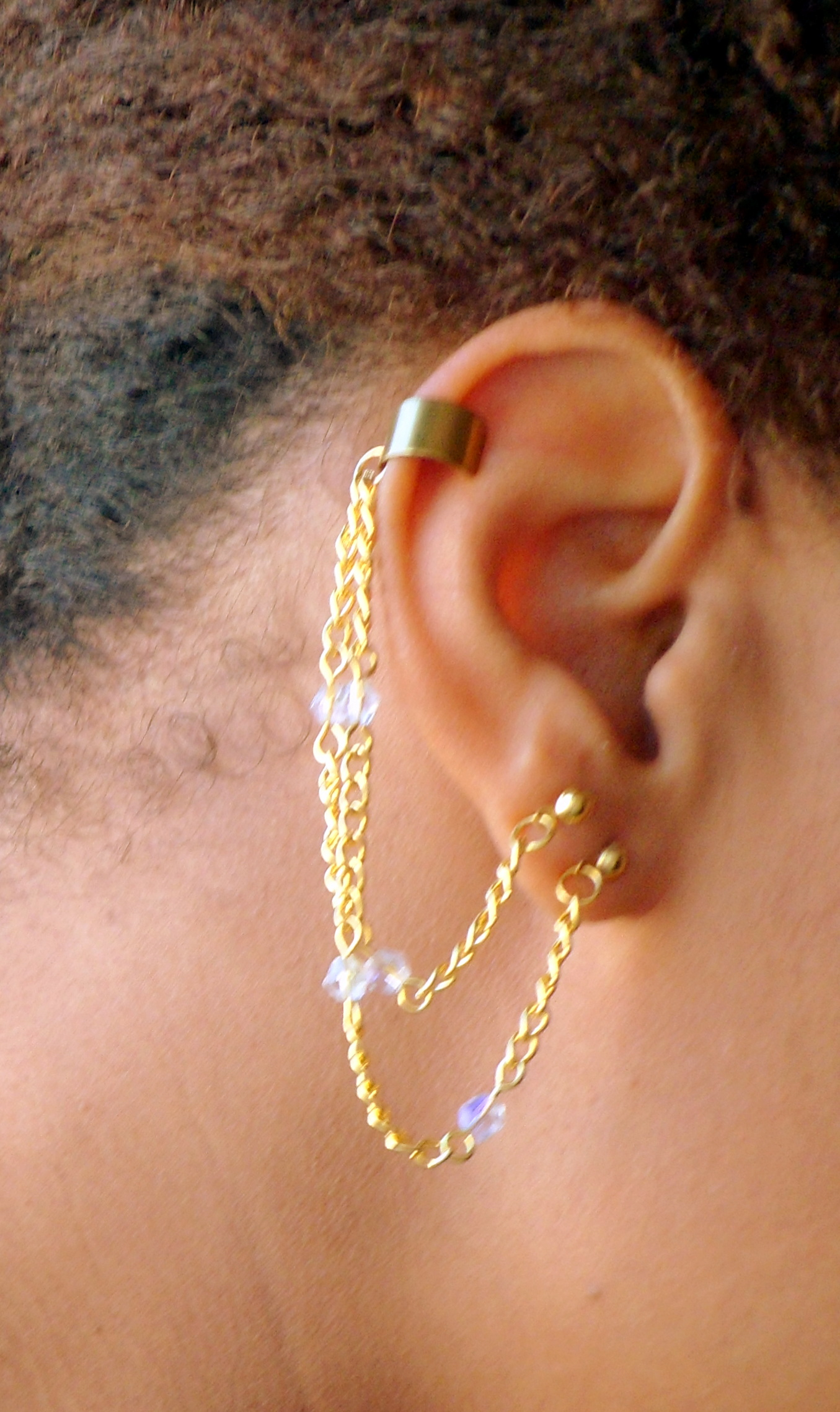 Swarovski Crystal Double Pierced Golden Chain Ear Cuff Wrap No Piercing Needed For Cartilage