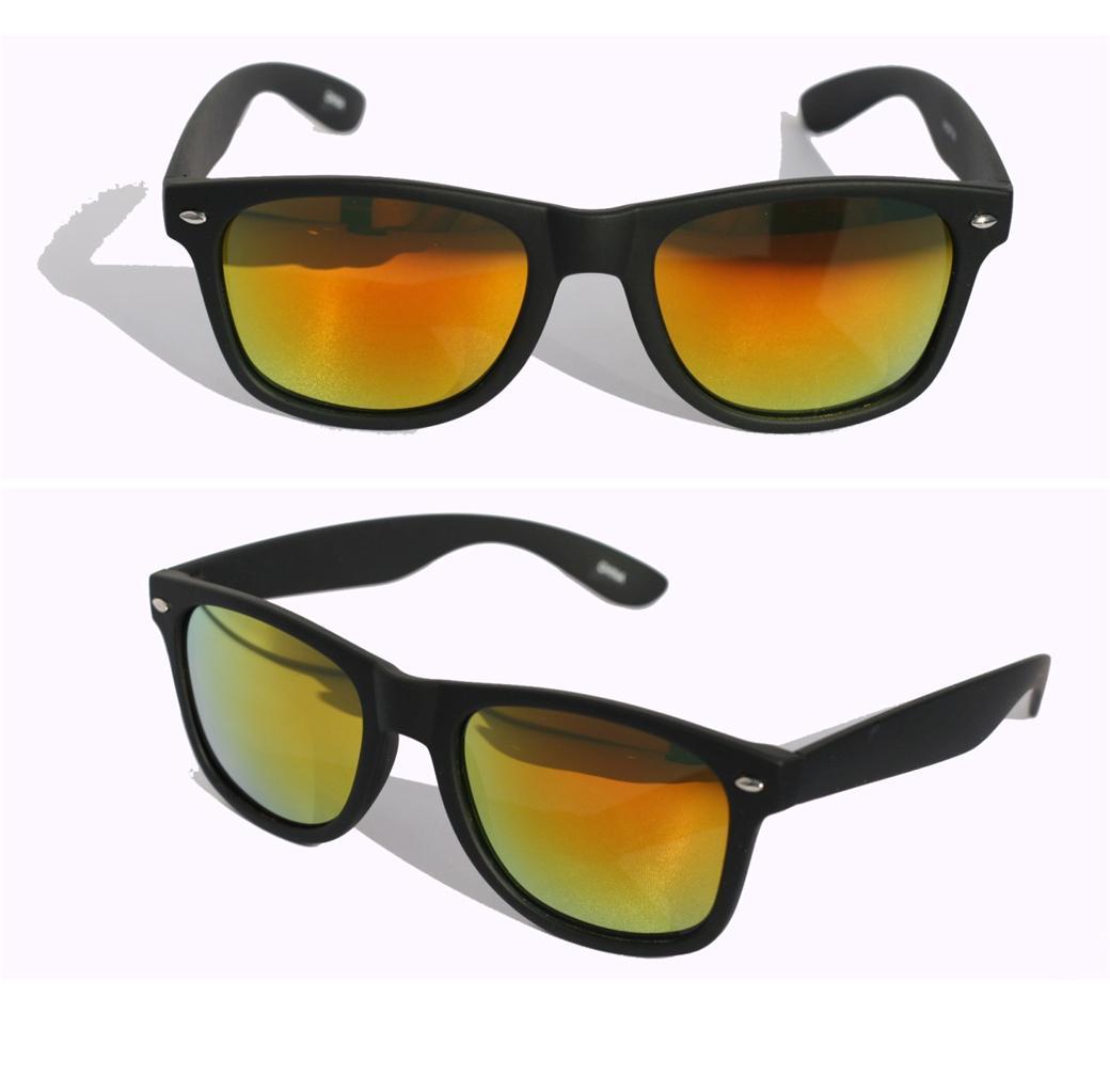 Black green mirror lens horned rim sunglasses soft matte rubberized 80/'s