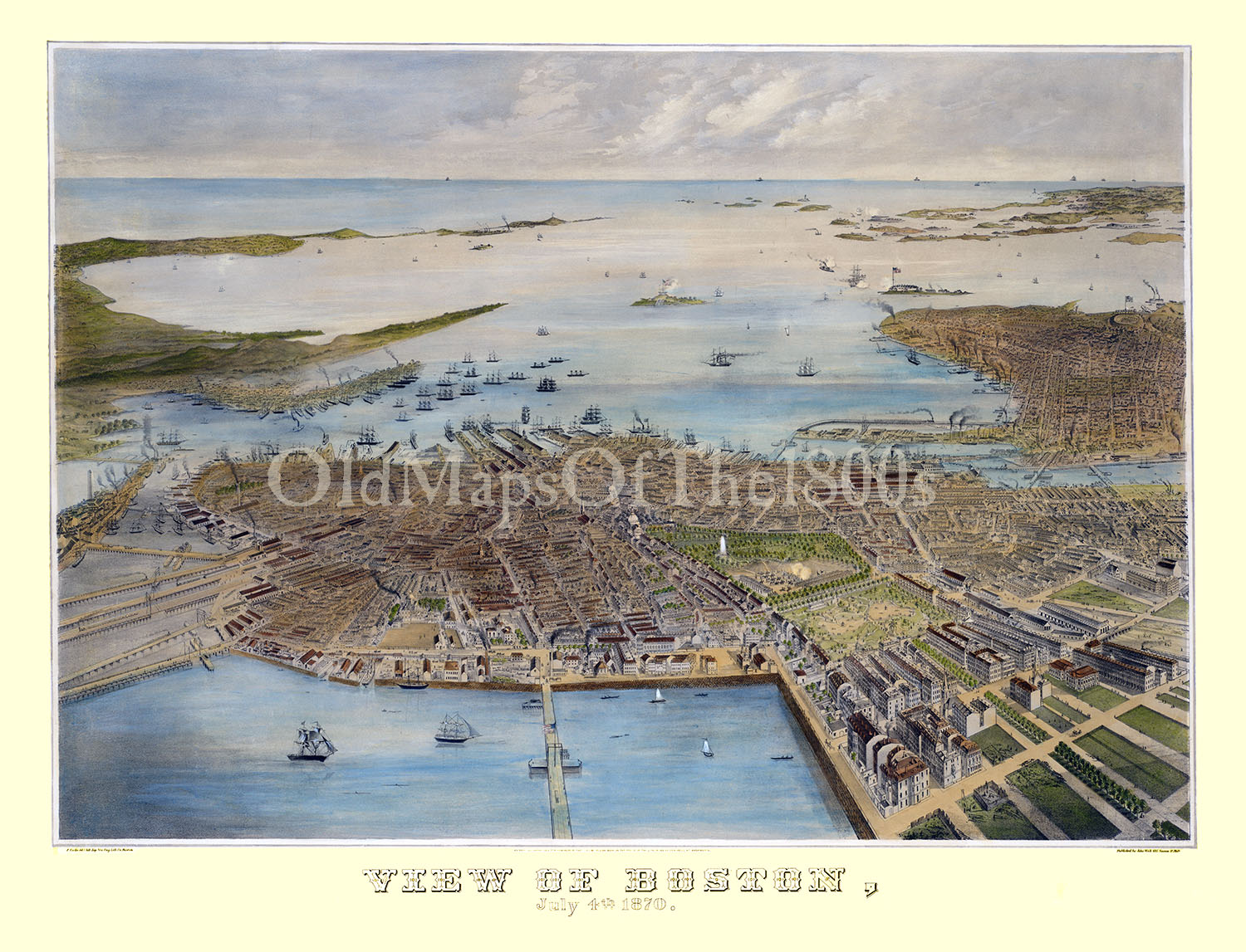 Antique Boston Map.Boston Ma In 1870 Bird S Eye View Map Aerial Panorama Vintage