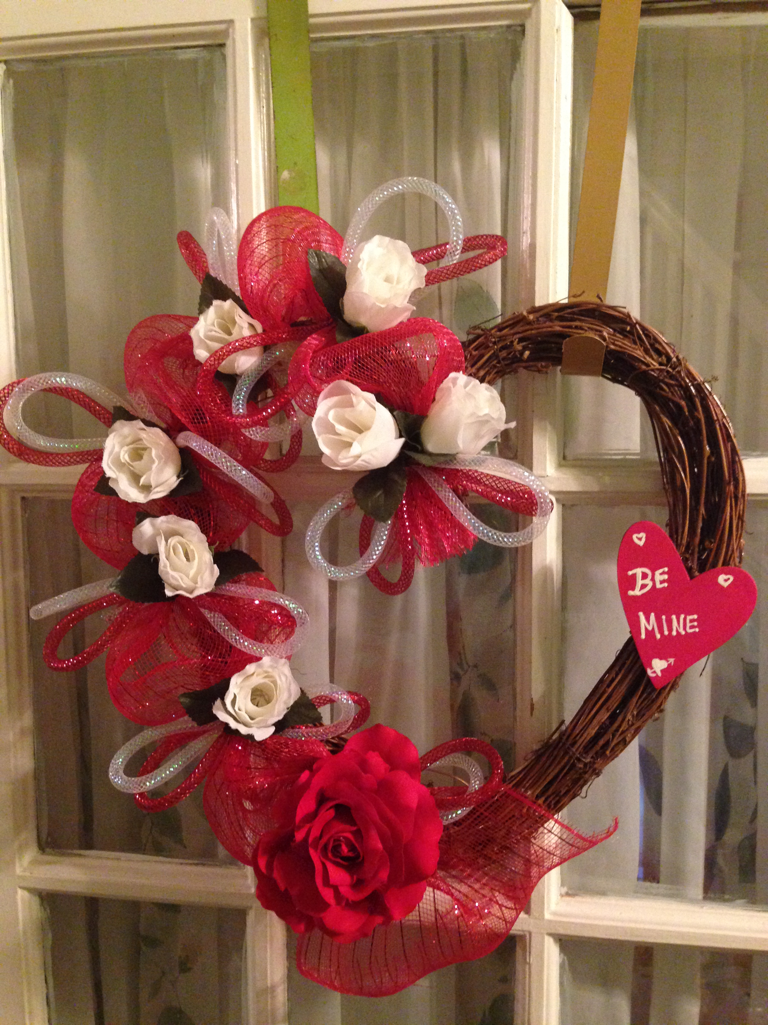 Red Deco Mesh On Grapevine Heart Shape White Roses Sign Sold By