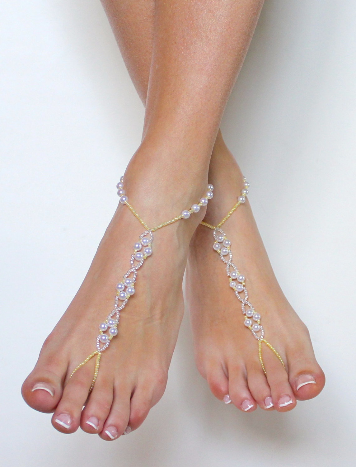 42e518ac452b Pale yellow and Pearl Barefoot Sandals Bridal Beaded Foot Jewelry ...