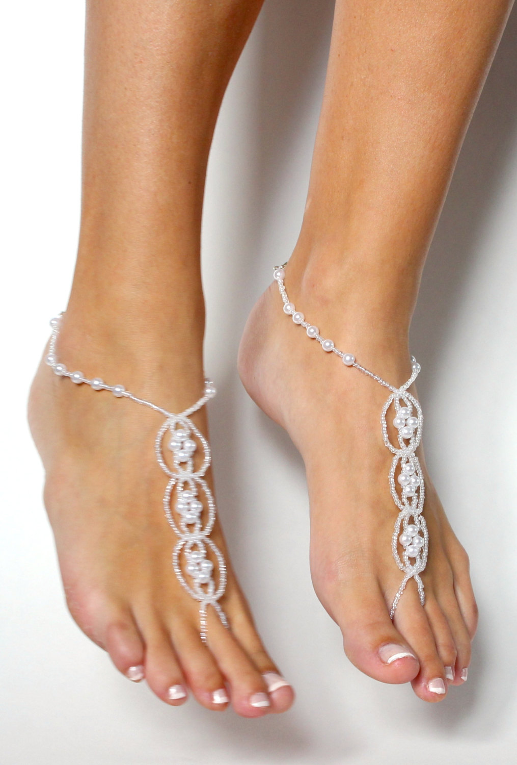 bb8f476b8754 ... Pearl Destination Wedding Shoes White Beaded Barefoot Sandals Shoeless  Sandals Anklet Foot Jewelry - Thumbnail 2 ...