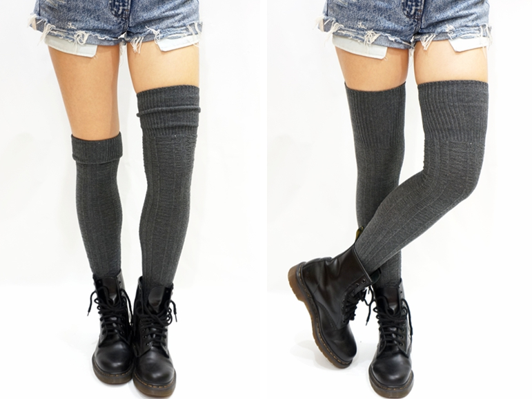 f6d99dc7c37 Cozy cable knit thigh high socks boot socks dark grey jpg 771x578 Gray high  socks