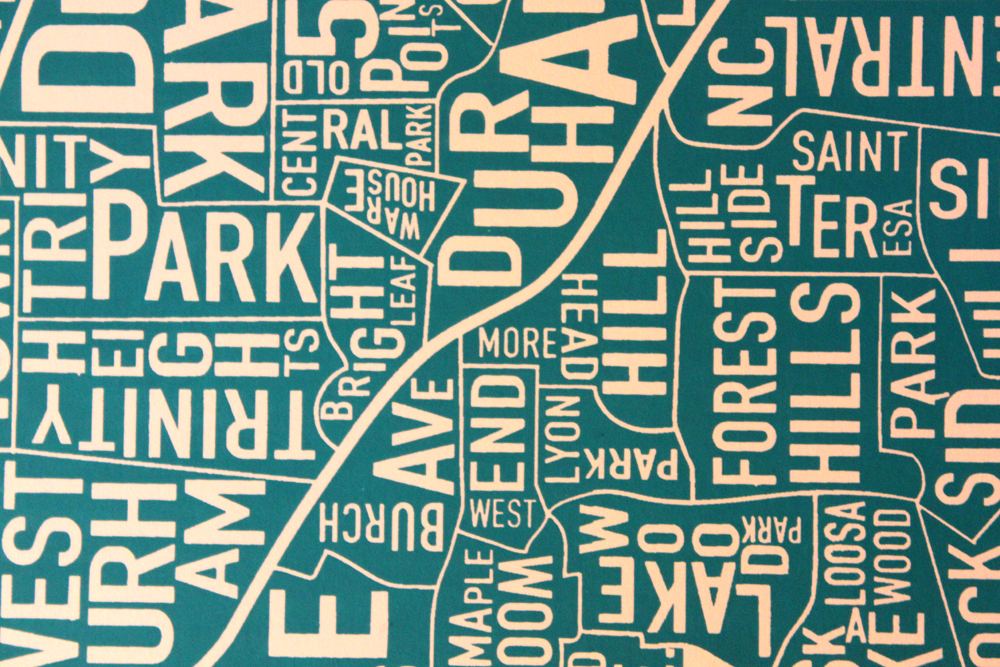 City Map Durham North Carolina Screen Print Map Art Docklands