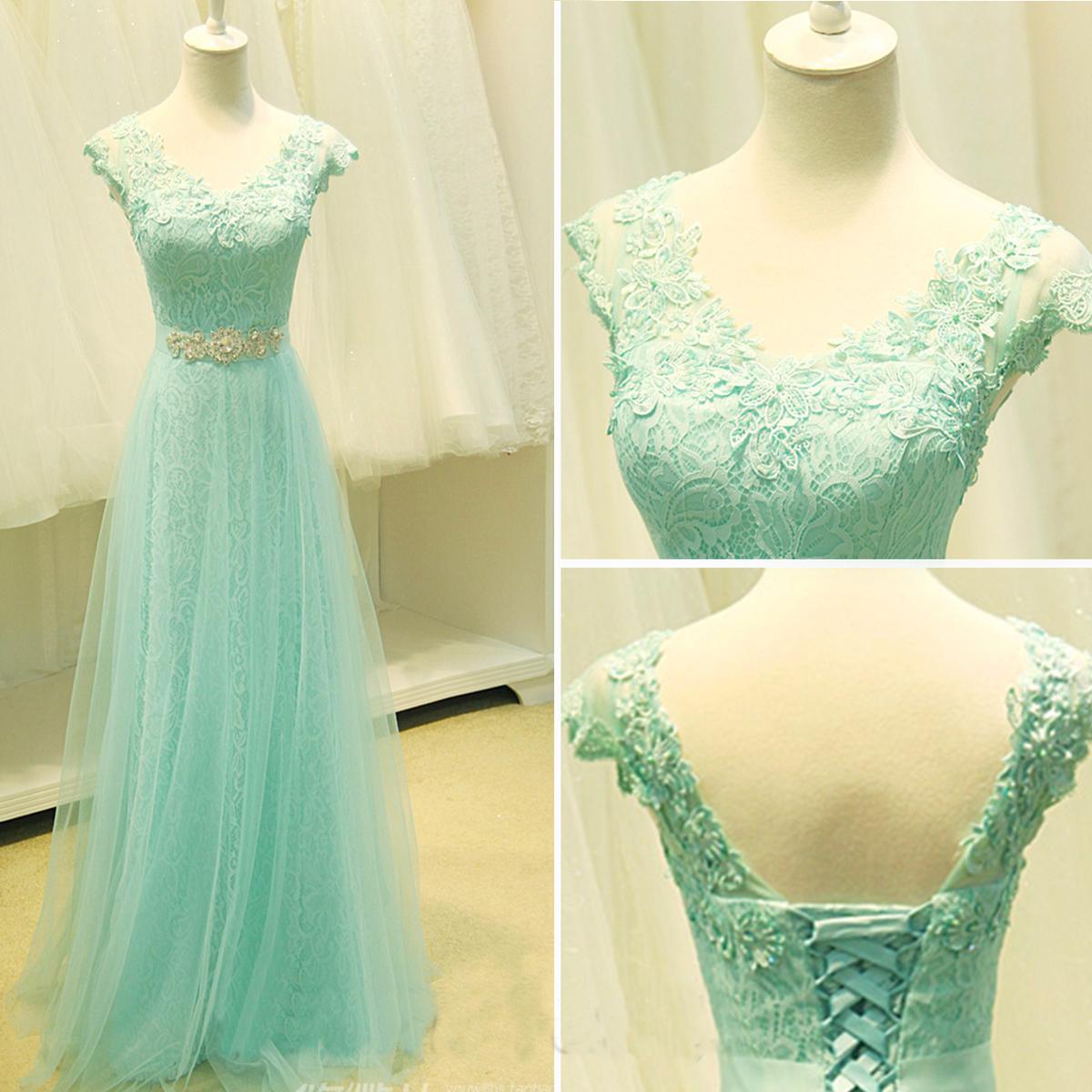 Mint lace prom dress, lace prom dress, cap sleeve prom dress, prom ...